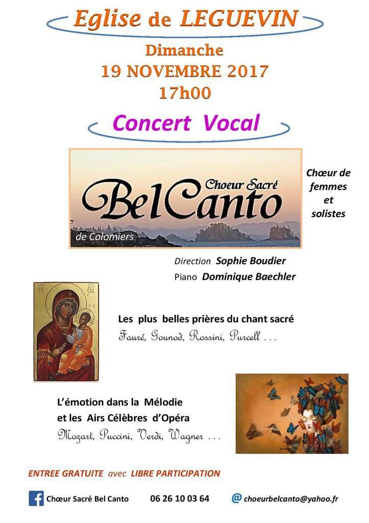 Concert à l'église le dimanche 19 novembre
