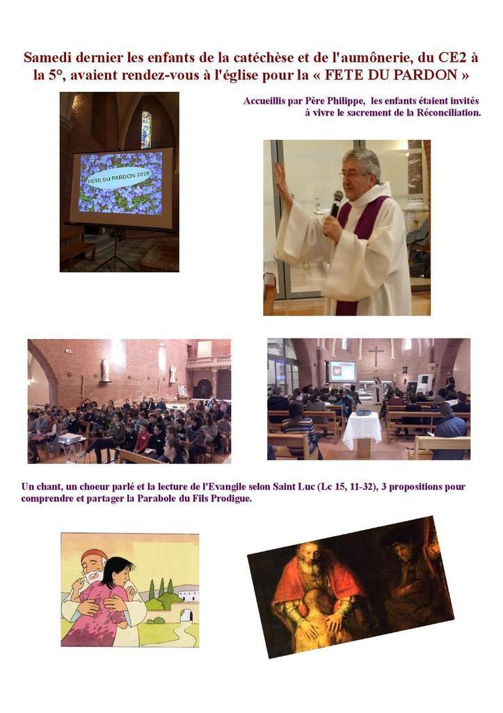Temps fort de la catéchèse : la Fête du Pardon