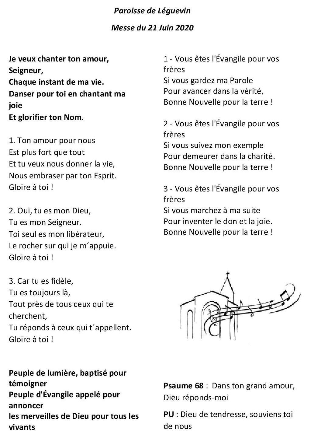 Chants pour la Messe du 21/06