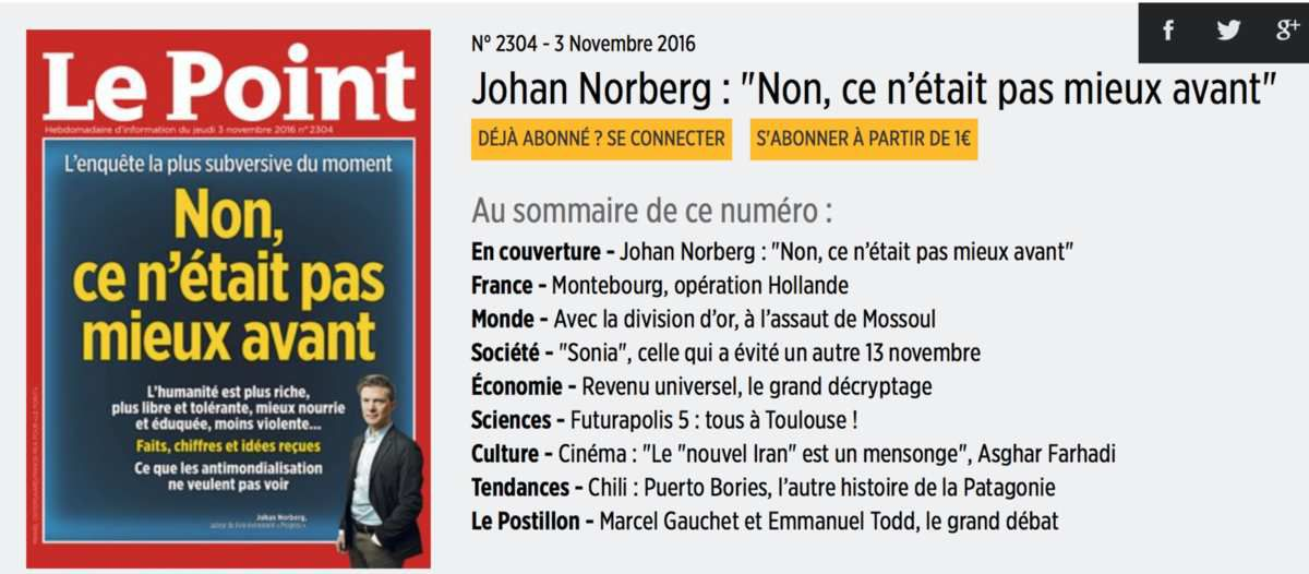 Johan Norberg à la une du point