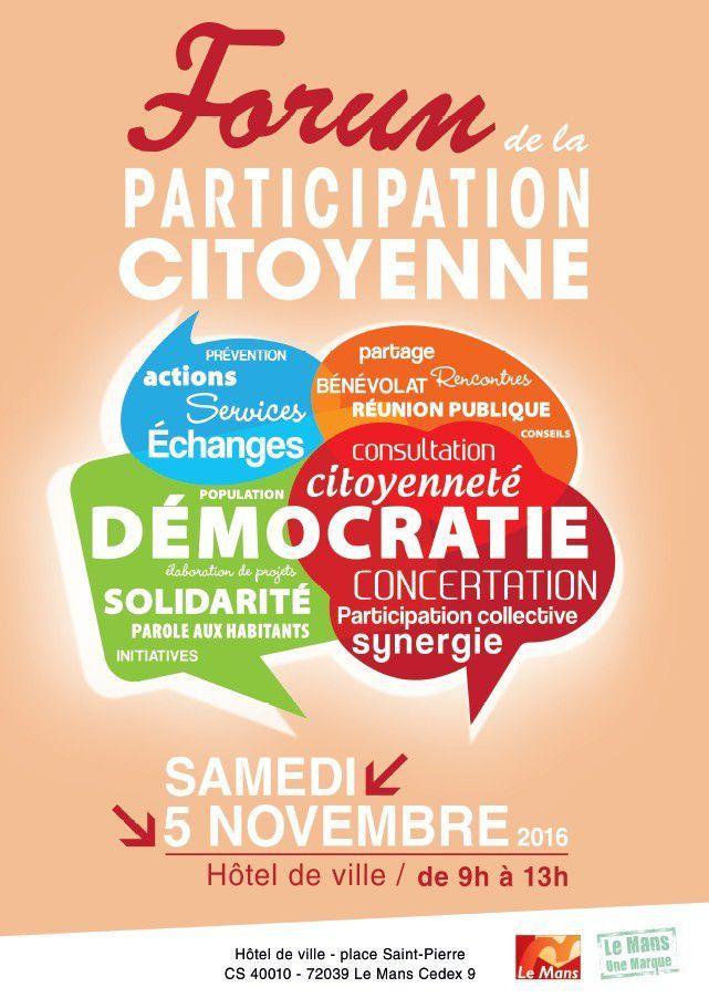Premier forum de la participation citoyenne le 5 novembre 2016