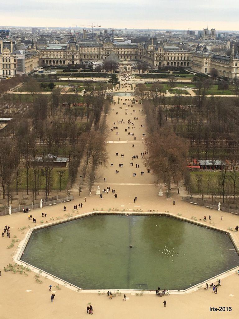 Les Champs Elysées d'un coté et le jardin des Tuileries de l'autre