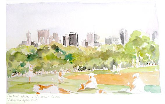 Central Parck, New York (Aquarelle de Delphine Priollaud Stoclet dans le blog New York )