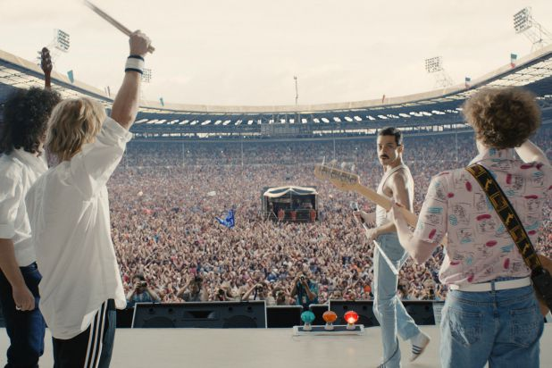 In https://www.thewrap.com/bohemian-rhapsody-film-review-freddie-mercury-queen-rami-malek