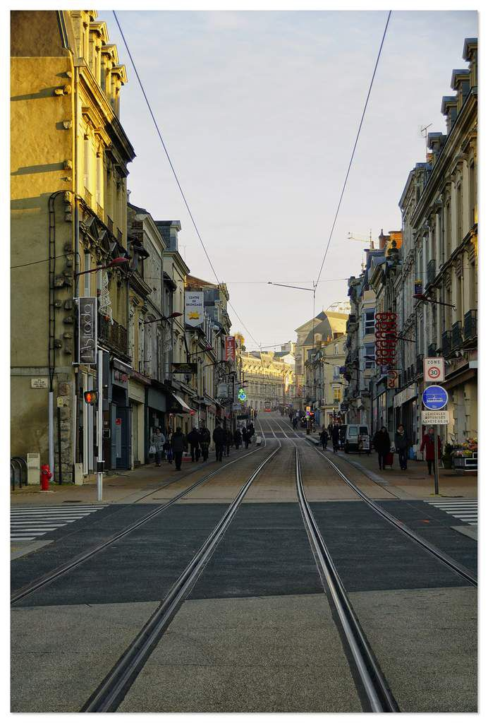 Tramway rue Gambetta, le Mans.