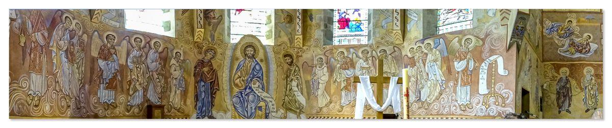 Fresques de Nicolaï Greschny - Eglise Saint-Lazare du Mans, procession liturgique dans le choeur.