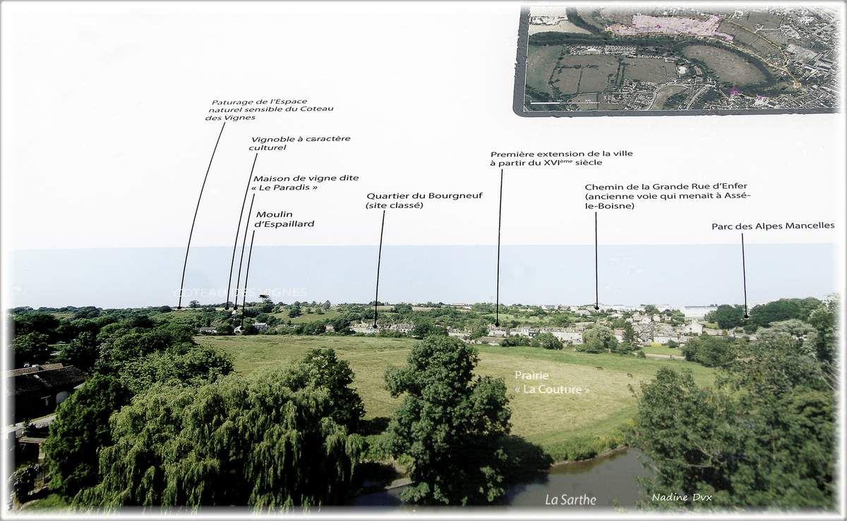 Panoramas, depuis le jardin public du château de Fresnay-sur-Sarthe.