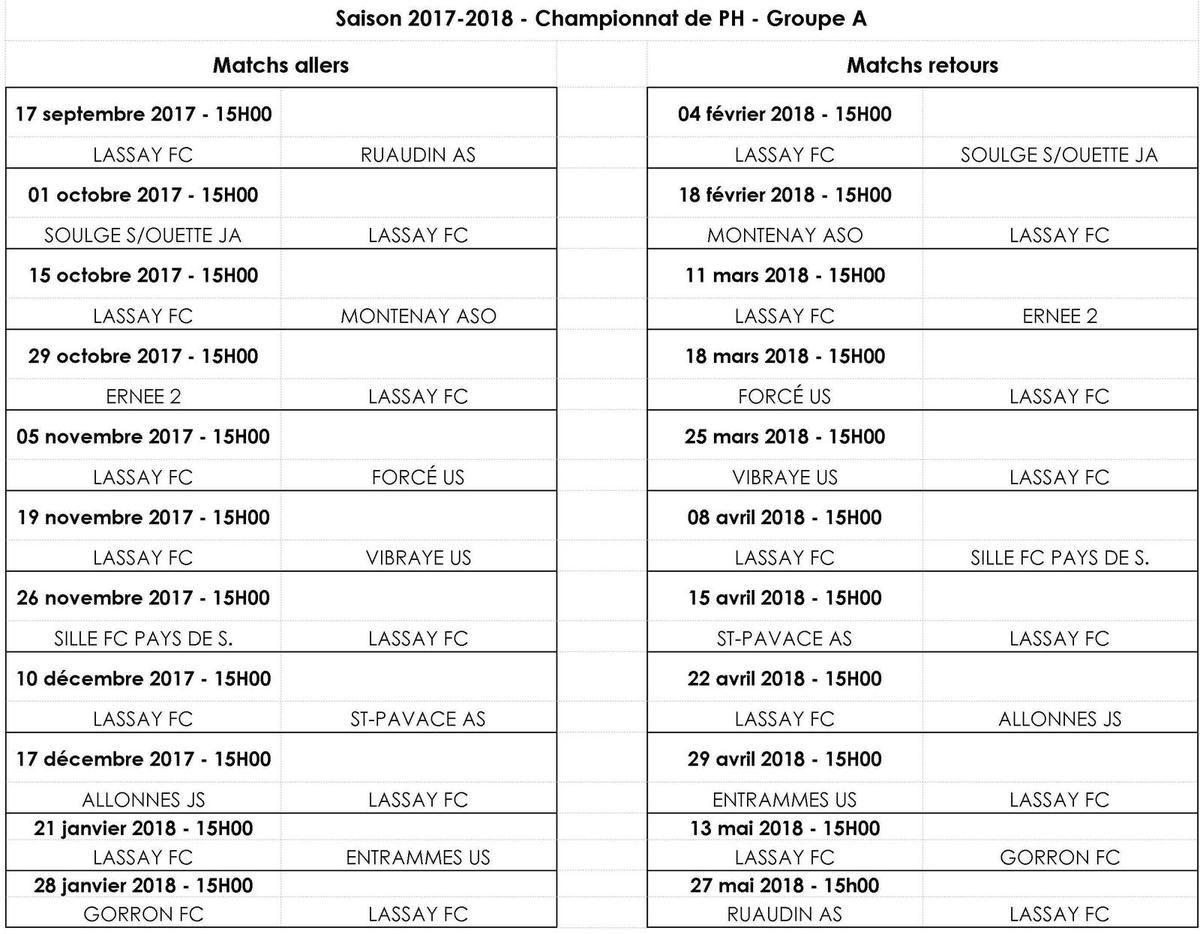 Calendrier FCL A