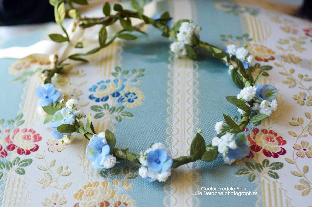 Couronnes de fleurs en Gypsophile or, couronne de fleurs gypsophile, fleurs d'horthensia roses et fleurs d'ornithogal et de la dentelle pour les demoiselles d'honneur