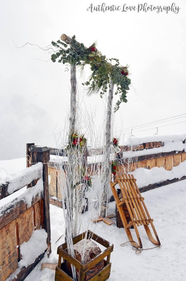 Décoration de mariage en station de ski
