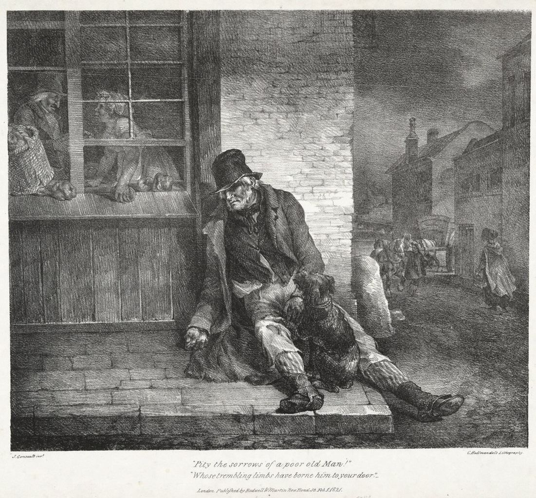 Théodore Géricault, Pity the Sorrows of a Poor Old Man! Whose Trembling Limbs Have Borne Him to Your Door, from Various Subjects Drawn from Life and on Stone, also known as the English Series, 1821. Lithograph. Yale University Art Gallery, Gift of Charles Y. Lazarus, B.A. 1936