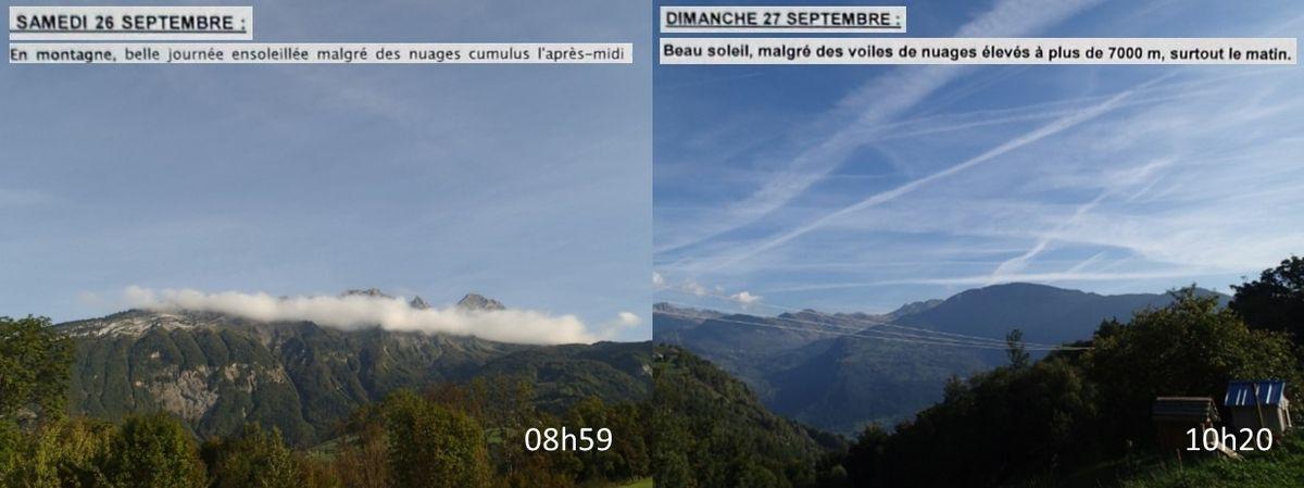 Samedi 26 et dimanche 27 septembre 2015, une nouvelle fois Météo France ignore ou minimise les nuages de culture engendrés par la combustion du kérosène
