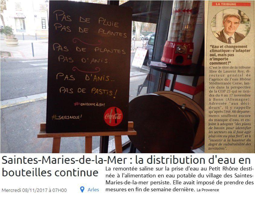 PAS DE PLUIE PAS DE PLANTES / PAS DE PLANTES PAS D'ANIS / PAS D'ANIS PAS DE PASTIS.   Mais déjà pastis à l'eau salée aux Saintes-Maries de la mer, en Camargue, où le niveau de l'eau du Rhône descend alors que la mer monte. Le « réchauffement climatique » alimente les conversations.
