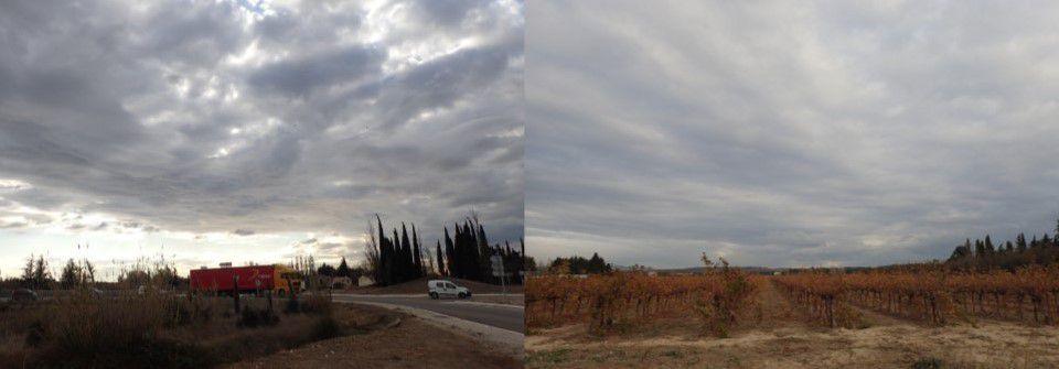 Sécheresse nuageuse sous nuages homogenitus devenus homomutatus par absorption à la fois de l'eau produite chimiquement dans la combustion du kérosène et de celle issue de l'évaporation naturelle.