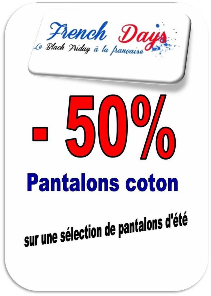 -50% sur une sélection de pantalons coton d'été !