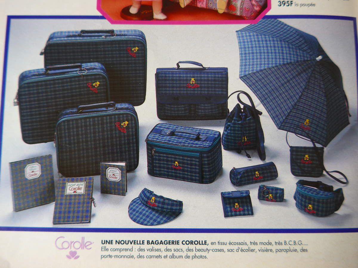 La bagagerie Corolle en 1992 : valise Corolle, parapluie Corolle, sac Corolle