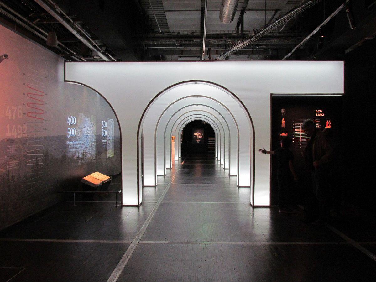 Première partie de l'expo : la galerie du temps donne les grands repères grâce à une chronologie visuelle