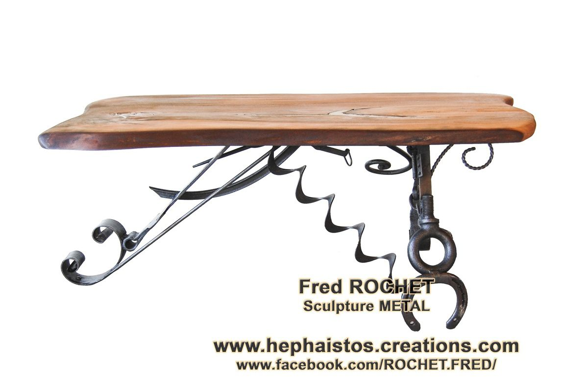 "MOBILIER D'ART ""TABLE BASSE BOIS METAL"""