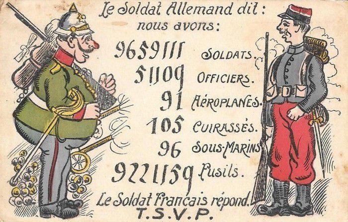 Cartes postales patriotiques humoristiques.