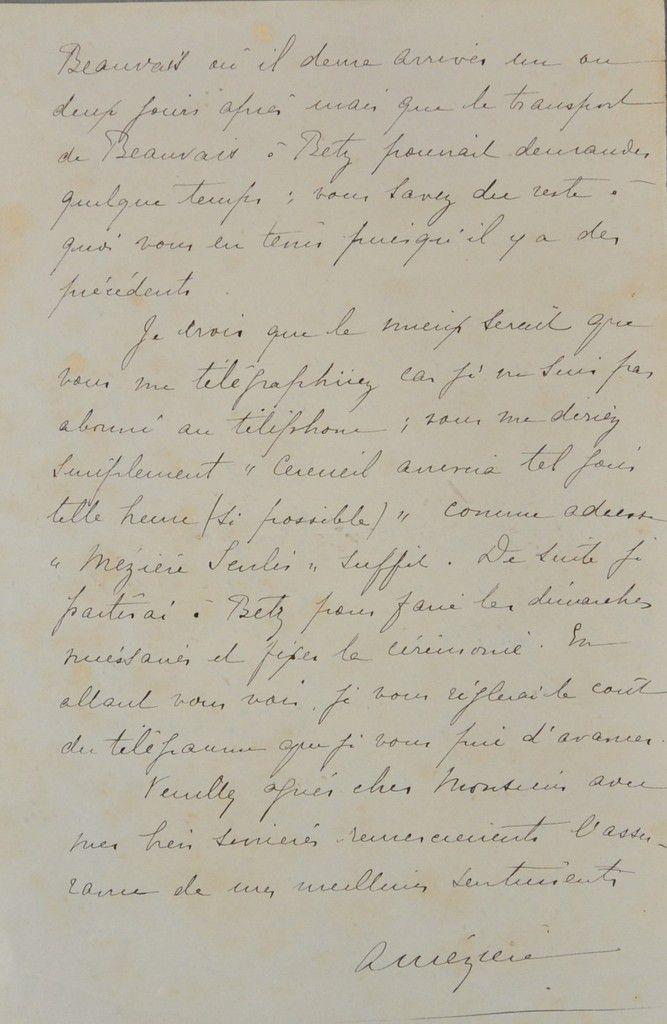 Courrier d'Alexandre Mézière, père de Louis à la mairie de Betz. Source: ADO: Registre: 116/ 4 H1