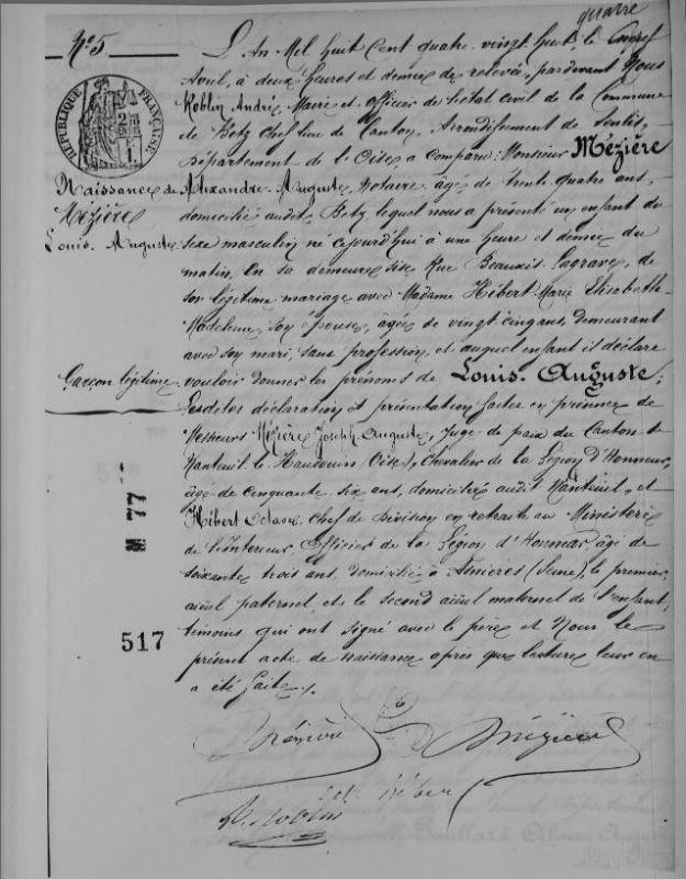 Acte de naissance de Louis Mézière. Archives Départementales de l'Oise en ligne. Etat civil.