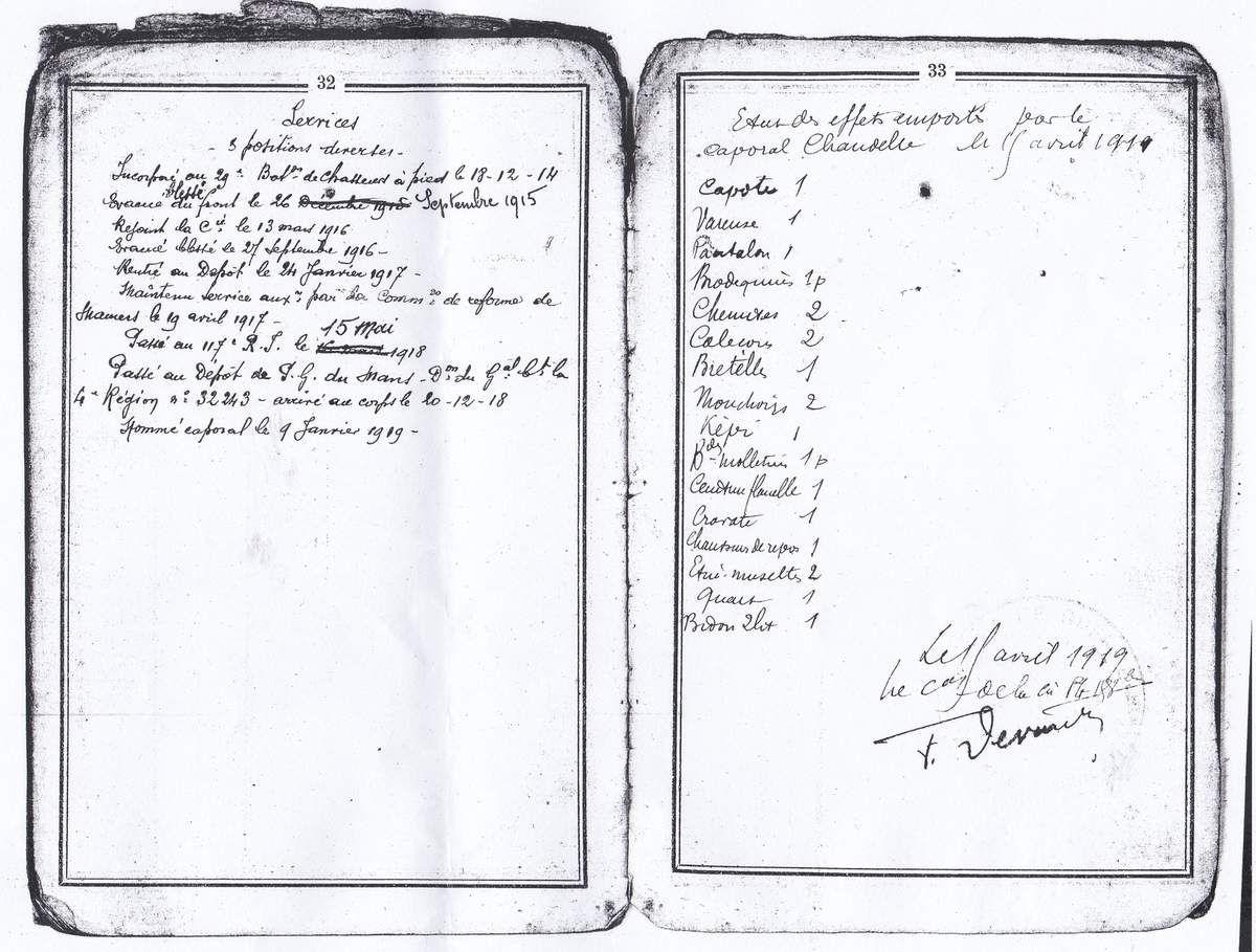 Extraits du livrets militaire de Gaston. Coll.privée