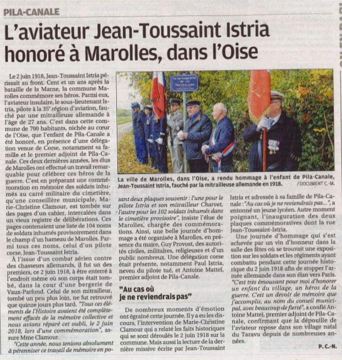Article paru dans le journal Corse-Matin.