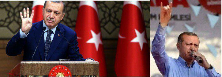 le président Erdogan lui-même donne le signe du ralliement aux milices des loups gris (l'opposé du PKK) et rabia des Frères musulmans (à gauche)