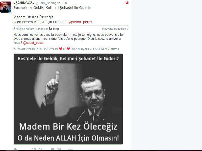Erdogan appelle aussi au djihad pour servir Allah, comme les rebelles de l'Etat Islamique