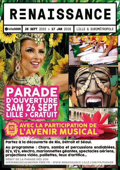 Parade Renaissance 26 septembre 20h Départ gare Lille Flandre