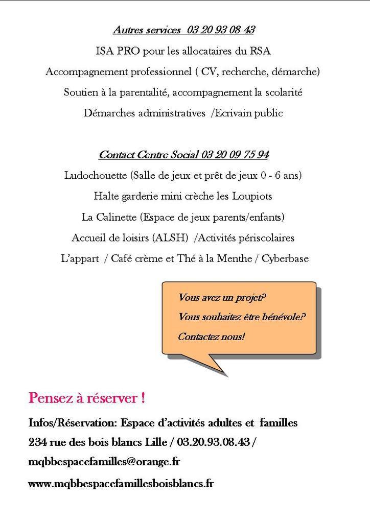 Programme d'activités septembre octobre 2017 Espace Adultes et Familles Lille Bois Blancs