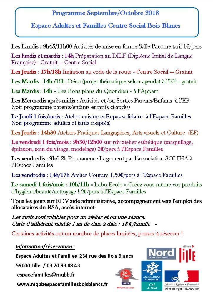 Programme Activités adultes et familles septembre Octobre 2018 Lille Bois Blancs