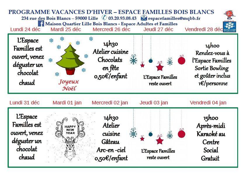 Programme vacances Noêl 2018 Lille Bois Blancs