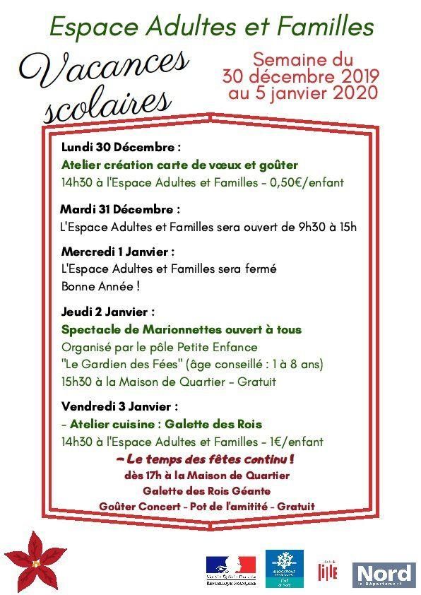 Programme Vacances de Noël 2019 Espace Adultes et Familles Centre Social Bois Blancs