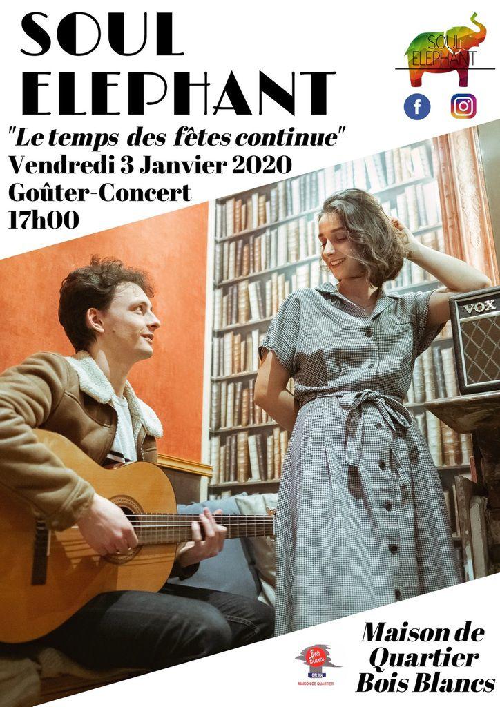 Save the date: vendredi 3 janvier 2020 17h Goûter Concert avec le groupe Soul Eléphant + la galette! Gratuit Centre Social Lille Bois Blancs