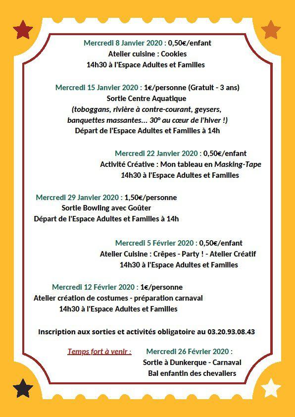 Agenda Janvier Février 2020 Adultes et parents/enfants Lille Bois Blancs