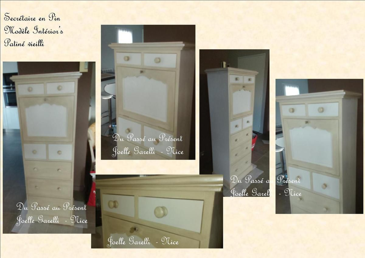 RELOOKING SECRETAIRE, ANGLE, ARGENTIER et BUFFET  en PIN  SHABBY CHIC
