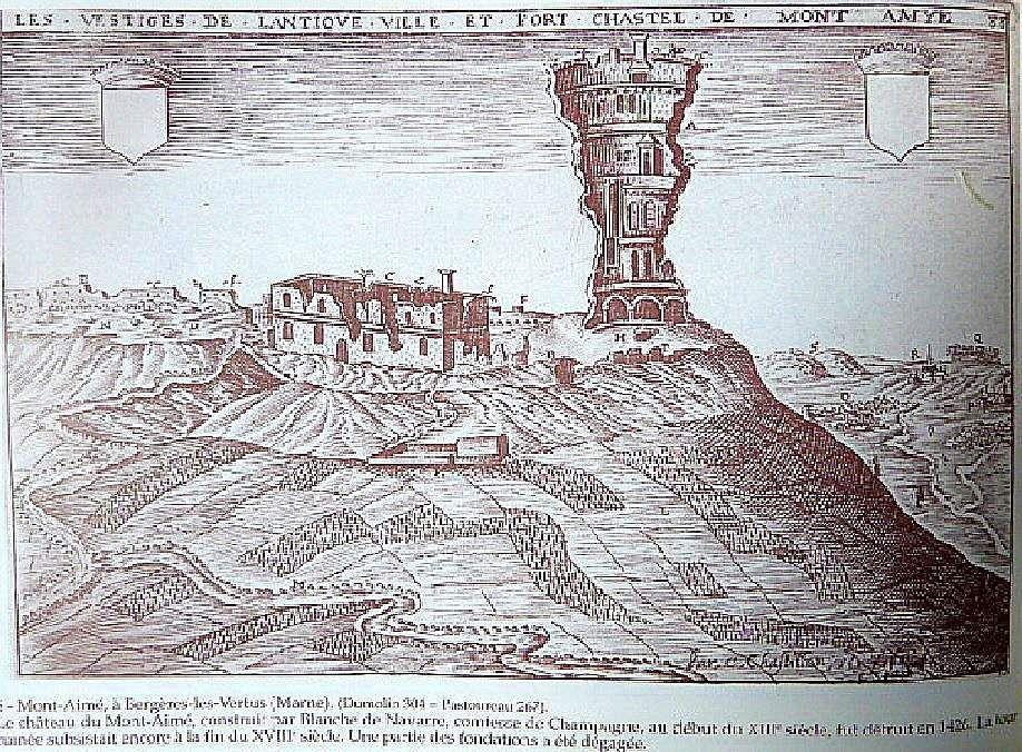 Le mont Aimé au 18e siècle (gravure de Claude chastillon)