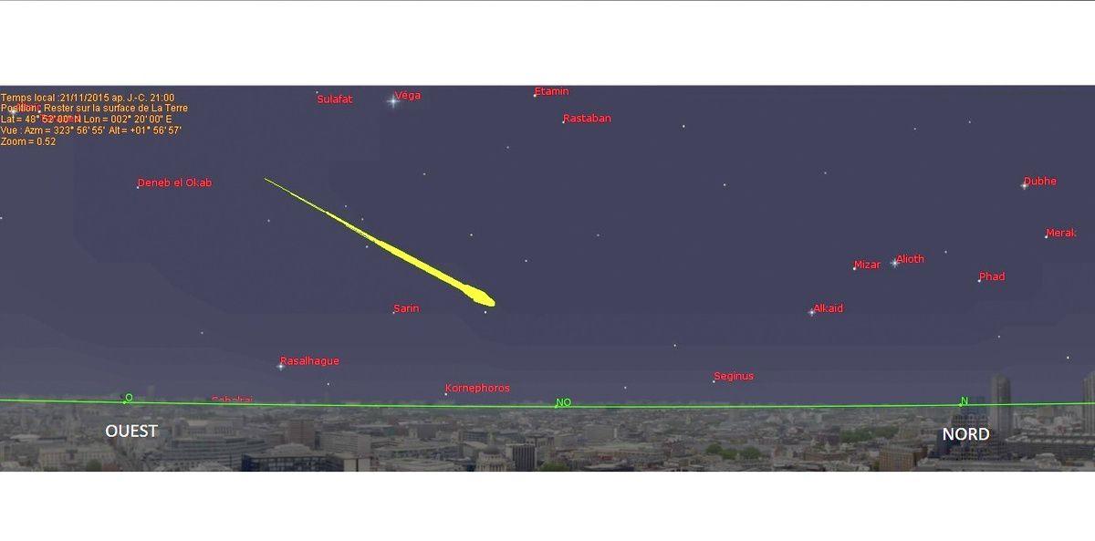 """Hier soir vers 21 h à Montpellier en regardant par la fenêtre j'ai eu la chance de voir une météorite très brillante de couleur verte dont j'ai reproduit le dessin à l'aide du logiciel Redshift. Il s'agit probablement d'une Léonide (nommée ainsi en raison de son orientation vers la constellation du lion). Les léonides se produisent tous les ans à cette époque alors que la Terre recoupe la traîne de la comète de Tempel-Tuttle. Ces """"Etoiles"""" filantes pénètrent l'atmosphère de la Terre à la vitesse vertigineuse de 70 km par seconde."""