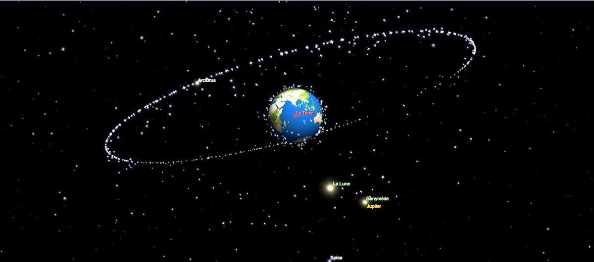 Jupiter et la Lune très proches (en apparence) ce soir vers 21h - les points sont les satellites artificiels de la Terre. - Imaage Redshift
