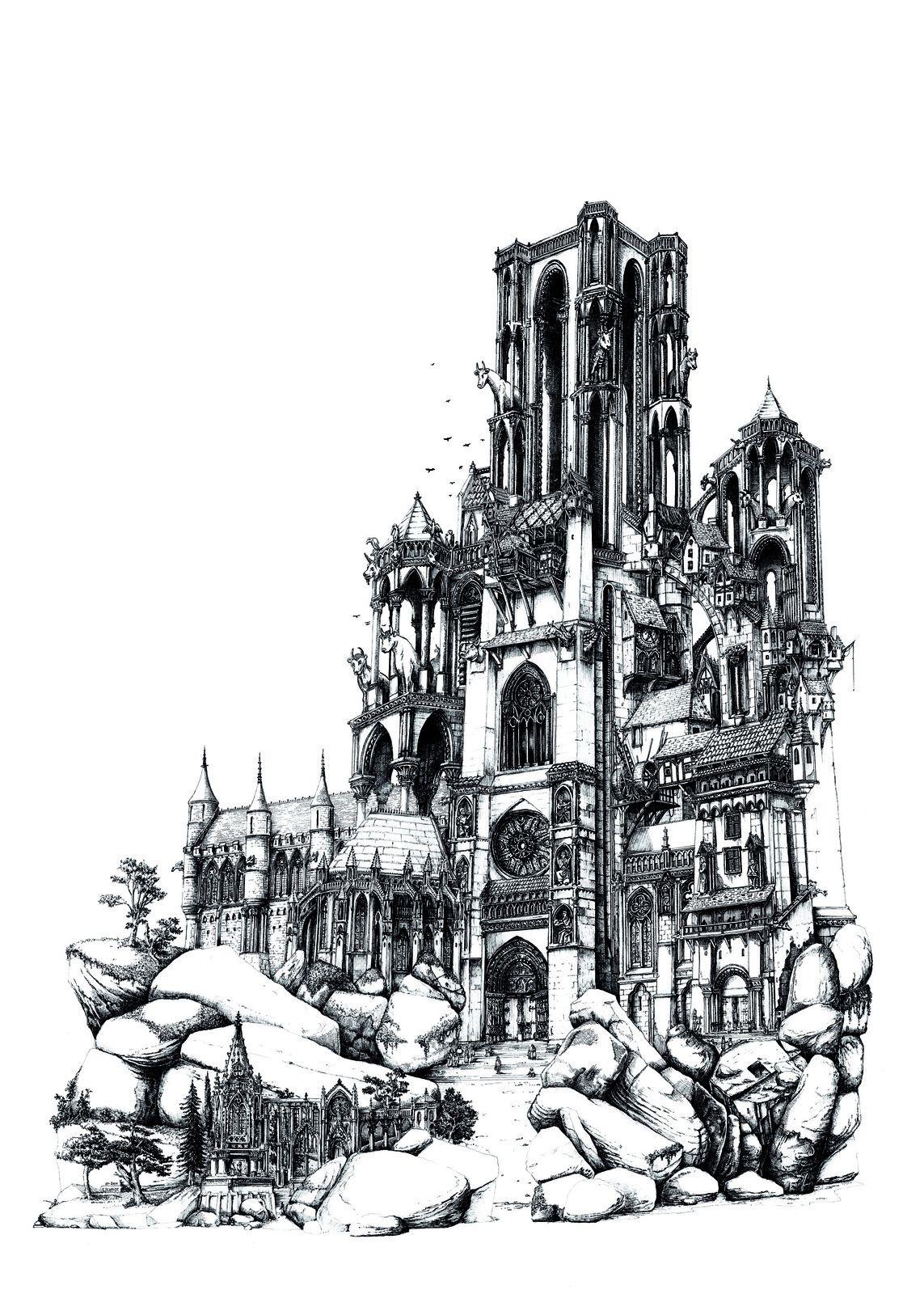 La cathédrale de Laon vue par l'artiste François Schmidt