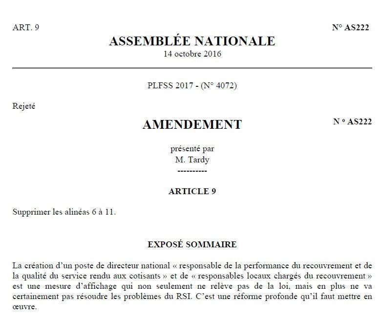 Amendement de Lionel Tardy contre l'art. 9 du PLFSS 2017