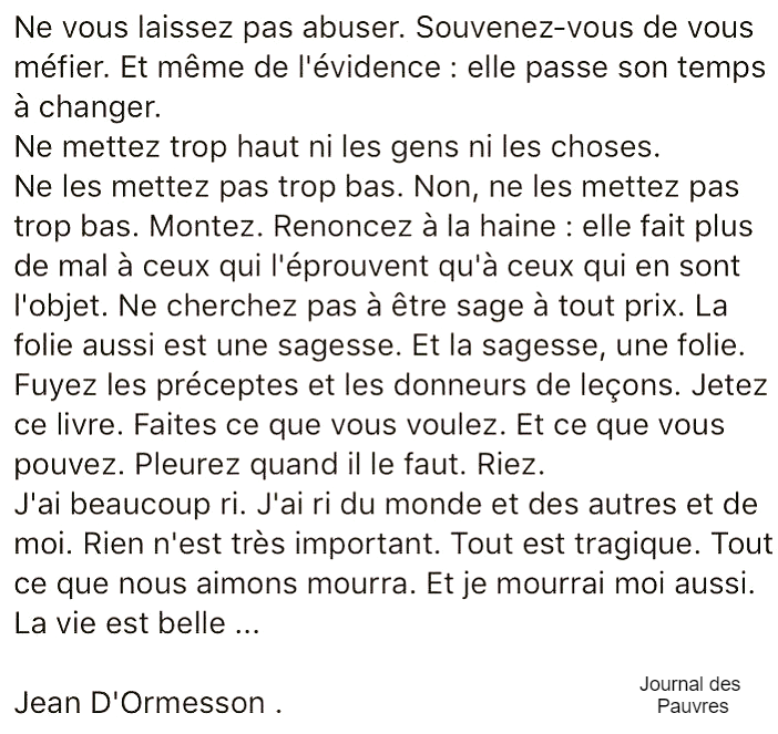 Hommage a Jean D'Ormesson