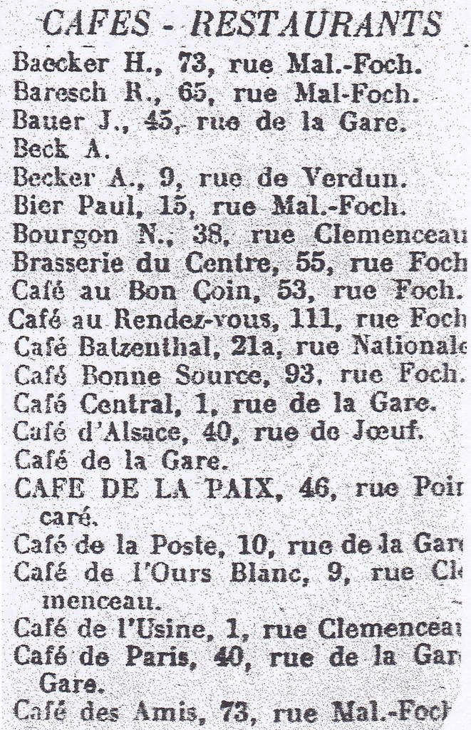 Les cafés - restaurants - hôtels - pensions de famille et autres dépôts de boissons à Algrange en 1935
