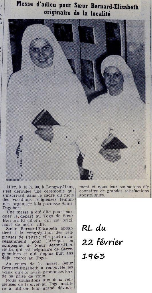Soeur Bernard-Elisabeth, une Soeur partie au Togo en 1963