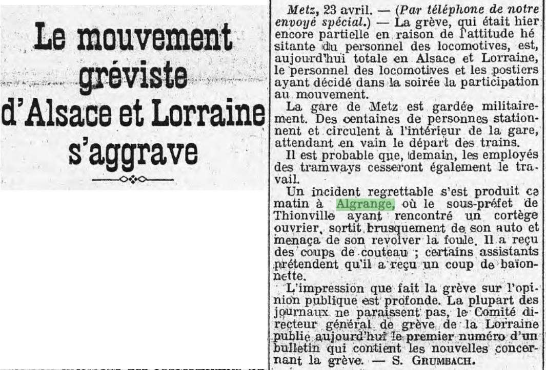 Publication de l'Huma du 24 avril 1920 (Source BNF)