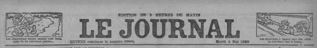 Publication du Le Journal du 4 mai 1920 (Source BNF)