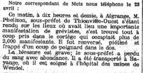 Publication du Le Temps du 24 avril 1920 (Source BNF)