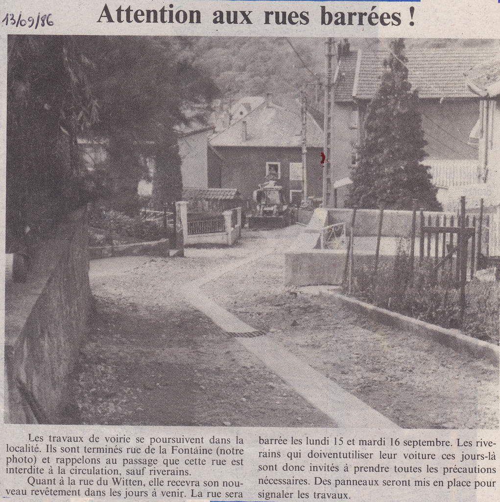 Travaux de voierie dans la rue de la Fontaine - Républicain Lorrain du 13 septembre 1986