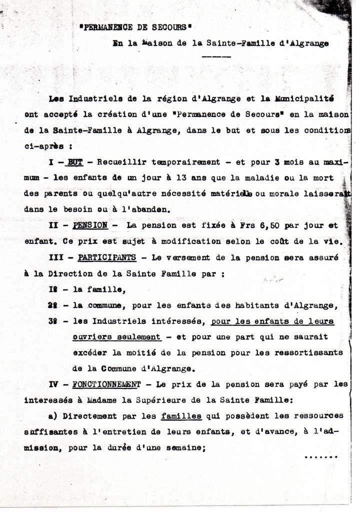 Permanence de Secours à la Maison de la Sainte Famille d'Algrange en 1929
